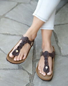 Birkenstock Sandals GIZEH BRAIDED habana brown waxy / oiled leather regular NEW