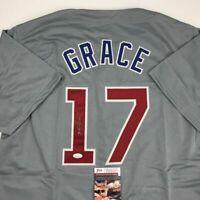 Autographed/Signed MARK GRACE Chicago Grey Baseball Jersey JSA COA Auto