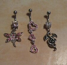 Lot of 3 Belly Button Ring Dangle Navel Set Piercing Body Jewelry Dragon hearts