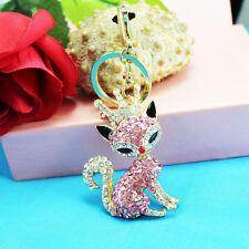fox Keychain Rhinestone Crystal Keyring Key Ring Chain Bag Charm Pendant Gift -dfsg