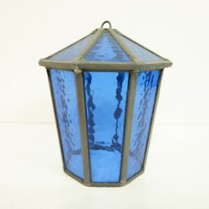 22cm Blue Stained Glass Lantern Cover Moroccan Boho Style Hanging Hook D19
