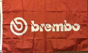 Brembo Flag 3x5 Red Banner Brake Car Racing Man Cave Garage