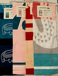 "New With Tags LACOSTE 🐊 Beach pool Towel Size 36"" x 72"" 100% Cotton"