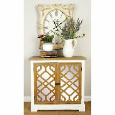Mirrored Chest Sideboard Cabinet 2 Door Storage Credenza White Oak Quatrefoil