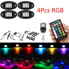 4x Universal RGB LED Rock Light Car Offroad Truck Under Body Lamp Remote Control