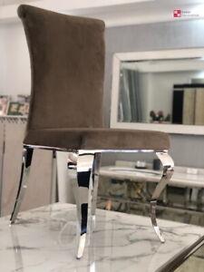 Design Plster Chaise Moderne Baroque Velours Beige Braun Inox de Salle à Manger
