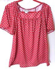 Anthony Richards Red & White Polka Dot Knit Top. Sz Medium