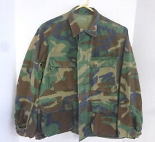 BTU Woodland Camouflage U.S. ARMY Military Button-Up Jacket Shirt Size Small