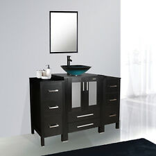 "48"" Bathroom Vanity Small Cabinet Tempered Glass Vessal Sink Mirror Faucet Set"