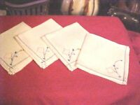 Vintage LOT OF 4 Linen Hand Embroidered Cloth Napkins  ~ Design pink and green