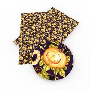 Halloween Pumpkin Boo Printed Leatherette Fabric A4 Sheets