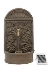 Battery Backup Garden Solar Powered Rust Ornate Wall Water Fountain Feature