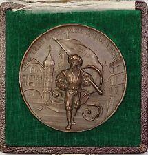1893 Bern Biel Switzerland Bronze Swiss Shooting Festival Medal R225b in Case