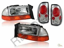 1997-2004 Dodge Dakota Chrome Headlights + Bumper Signal + Tail Lights Lamps