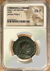 """Philip II Provincial """"Sestertius"""" or Dupondius - Cyrrhus, Temple NGC, Scratch"""