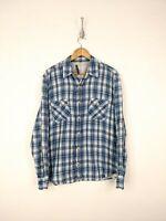 Vince Button Up Flannel Shirt Men XL Blue White Check Plaid Casual