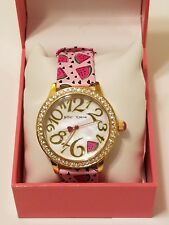 New Womens Betsey Johnson Gold Watermelon Leather Band Watch $69