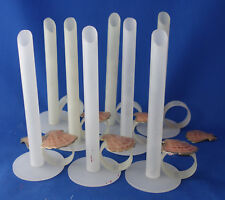"""white Christmas half inch candle holder 6¼"""" sticks with finger rings set of 8"""