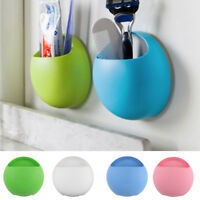 Bathroom Suction Cup Round Wall Mount Rack Toothbrush Sponge Holder Organizer