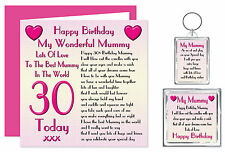 30th Mummy Happy Birthday Gift Set - Card, Keyring & Magnet - 30 Today Lots Love