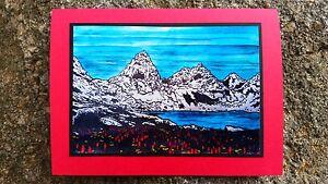 5 Handmade Mountain Landscape Cards Blockprint Linocut Camping Hiking Wildflower