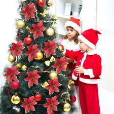10PC Glitter Artificial Poinsettia Flower Christmas Tree Ornaments Home Decor US