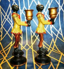 Vintage Pair of Cold Painted Bronze Candlestick Anthropomorphic Monkeys in Suits
