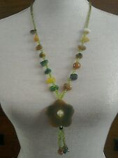 green stone necklace flower shape tassel beads spring summer necklace