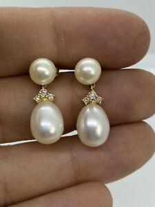 14k Yellow Gold Genuine Pearl & Diamond Drop Dangle Earrings 4.6 GRAMS