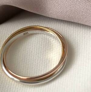 925 Sterling Silver Russian Rolling Trinity Ring18k gold plated 1 Micron Ring