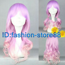 2017 New light purple & pink mixed long curly cosplay Wig + Free wig cap