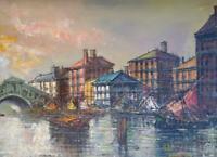 Vintage Oil Painting Canvas MCM Expressionist Coastal Landscape Boats & Buldings