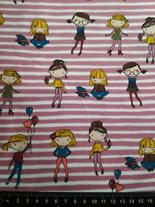 Jersey Knit Stretch Fabric Pink Stripe Girls Cotton Lycra 95/5 Material Dress