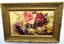 Gravure de fleurs encadrée, cadre bois large, sculpté et doré: Roses et Anémones