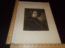 Rare Antique Orig VTG 1884 Rembrandt From Painting, F S King Etching Art Print