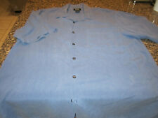 G.H Bass Button Down Shirt -  100% Silk - Blue  - Medium