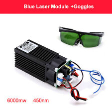 Focusable Analog CNC PWM 6W 6000mW Blue Laser Module w/ TTL Engraving + Goggles