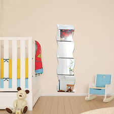 Modern 6pcs 3D DIY Removable Home Room Wall Mirror Sticker Art Vinyl Mural Decor