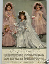 1945 PAPER AD Doll Ideal Bride Bridesmaid Flower Girl Composition Mohair Lashes