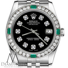 Ladies SS Rolex 26mm Datejust Black Color Diamond Accent Dial Emerald Watch