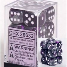 Chessex Dice d6 Sets:Gemini Purple & Steel White 16mm Six Sided 12 Die CHX 26632
