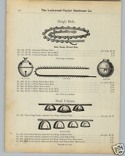 1901 PAPER AD Sleigh Bells Body Strape Shaft Chime Dexter Arctic Bell