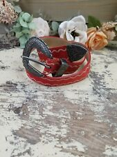 Talbots Red Suede Leather Western Belt Size Small EUC