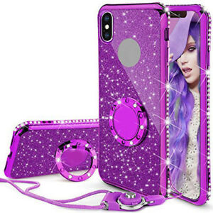 For HUAWEI P40 MATE 20 8X P30 Bling Crystal Case Soft Cover With Ring Lanyard