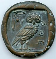 TETRADRACHM THE OWL AND ATHENA LARGE CAST BRONZE MEDAL 82MM 277G