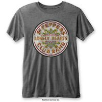 The Beatles Men's Sgt Pepper Drum Burnout T-shirt, Grey (charcoal), Xx-large -