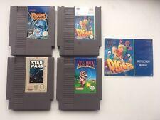 GIOCHI Nintendo X4 BUNDLE LOTTO annida Quest SCAVATORE di Star Wars T Rock NES OPEN