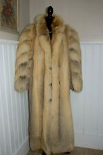 Genuine Golden Island Fox Fur Coat Jacket Stroller Full Length