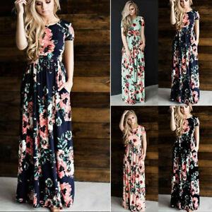 Women Summer Short Sleeve O Neck Maxi Dress Boho Floral Casual Ball Gown Dress