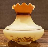 Custard Brown Orange Rust Floral Flowers -- GWTW Hurricane Glass Lamp Shade (s)